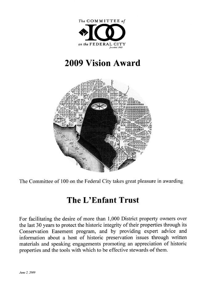 The L'Enfant Trust 2009 Vision Award Federal City